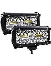 Zmoon Led Light Bar, 2Pcs 240W 24000lm [ Aluminum Alloy Die-Casting Shell ] Led Spotlight Off Road Lights Super Bright Flood Driving Light for SUV Jeep Boat (240 W)