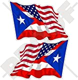 "USA United States of America & PUERTO RICO, American-Puerto Rican Flying Flag 3"" (75mm) Vinyl Bumper Stickers, Decals x2 (Left-Right)"