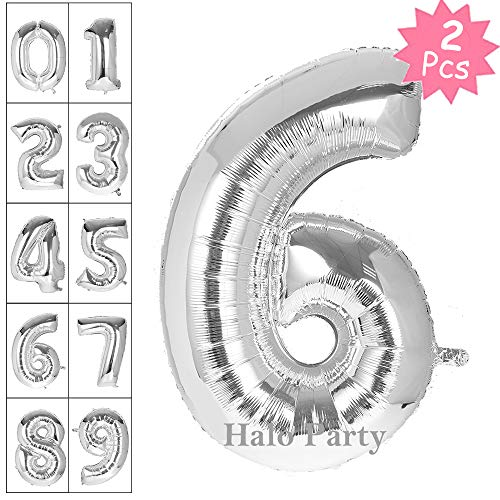 Letter Balloon, Number Balloon, 40 Inch Giant Jumbo Glossy Silver Letter Balloons, Birthday Party Decorations Big Alphabet Mylar Foil Helium Balloon (Silver Number 6)
