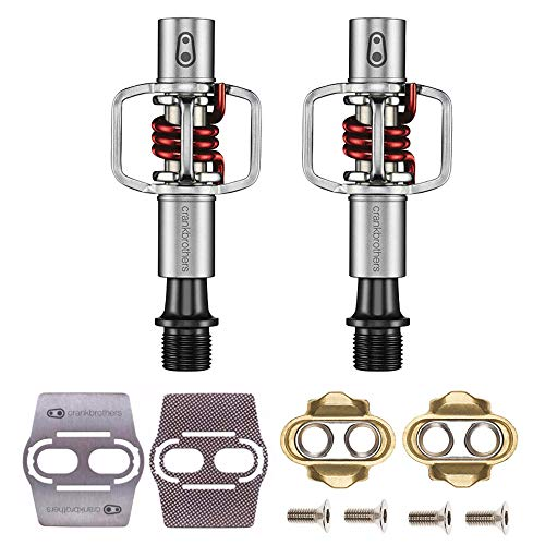 CRANKBROTHERs Crank Brothers Eggbeater 1 Hangtag Bike Pedals with Premium Cleats and Bicycle Shoe Shields Set (Red)