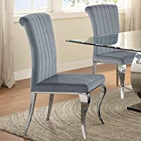 A Line Furniture Cabriole Design Stainless Steel with Grey /Silver Velvet Dining Chairs (Set of 4)