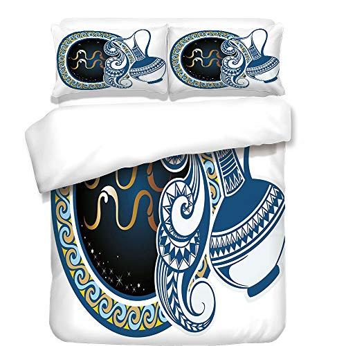 Twister Jug - iPrint 3Pcs Duvet Cover Set,Zodiac Decor,Image of Aquarius Sign with Jug and Circular Globe World Form on Background,Blue Gold,Best Bedding Gifts for Family/Friends