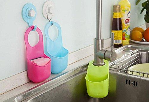 3pcs Kitchen Sink Bathroom Hanging Strainer Organizer Storage Sponge Holder Bag - 3