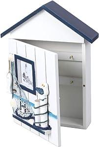 HEMOTON Mediterranean Style Key Cabinet Wood Nautical Style Wall Mounted Wooden Key Holder Storage Box Cabinet Style 2
