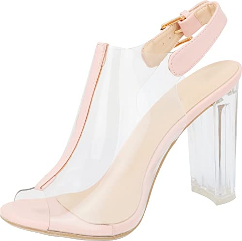 TOP Moda Fenton 1 Womens Clear Chunky Heel Peep Toe Lucite Sandals Blush 5