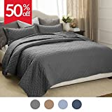 "Quilt Set Solid Grey Full/Queen(86""x96"") Basketweave Pattern Lightweight Hypoallergenic Microfiber ""Simone"" by Bedsure"