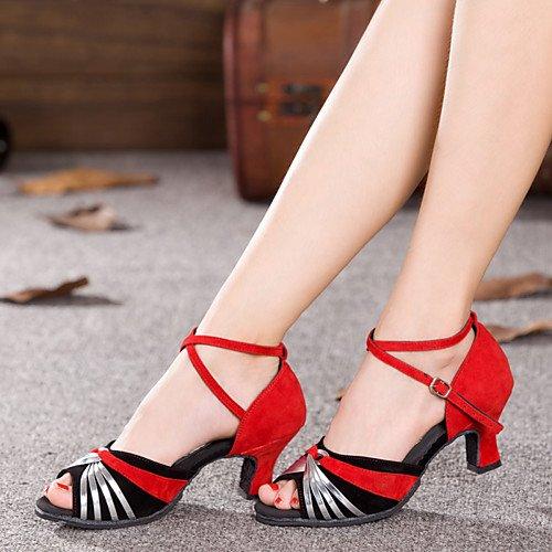 Glitter Sliver Paillette Shoes Q Women's Sparkling Synthetic Heel T T Sliver and Cuban Dance Velvet Black Black and TFw08