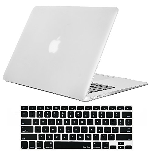 MacBook Air 13 Inch Case, ProCase Rubber Coated Hard Shell Case for MacBook Air 13 inch (Model A1369 & A1466) with Keyboard Skin Cover -Frost - Case Hard Coated