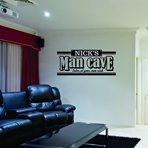 Custom Name Man Cave Wall Decal - Personalized Name Man Cave Vinyl Wall Decal Sticker Art - Guy's Cave Decal - Basement Decal - Gift for Dad - Bar Rec Room Pub Decal - Man Decal