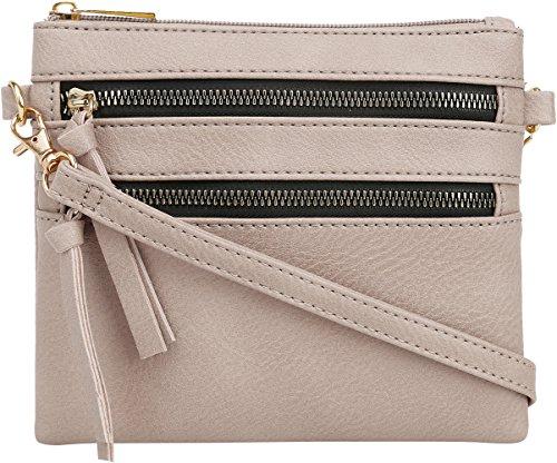 (DELUXITY   Crossbody Wristlet Bag   Functional Multi Pocket Double Zipper Purse   Adjustable & Detachable Strap   Small Size Purse   Beige)