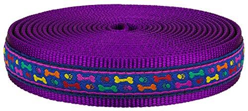 1 Inch Rainbow Paws and Bones on Purple Nylon Webbing Closeout, 5 - Paw Nylon Pattern