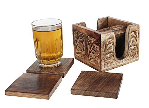 Set of 6 Square Wooden Coasters with Hand Engraved Holder- For Tea & Coffee Cups, Mugs, Beverages, Glass Drink Mats