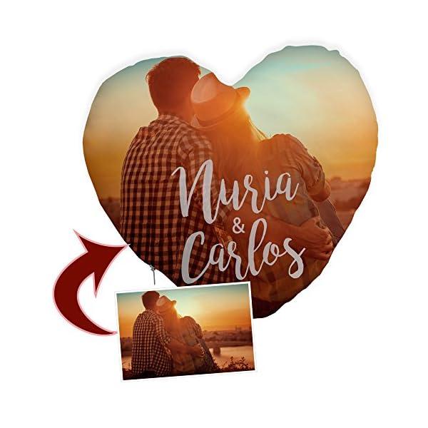 Cojin Corazon Personalizado con Foto. Regalos Enamorados Personalizados. Impresión Total por Las 2 Caras hasta la… 2