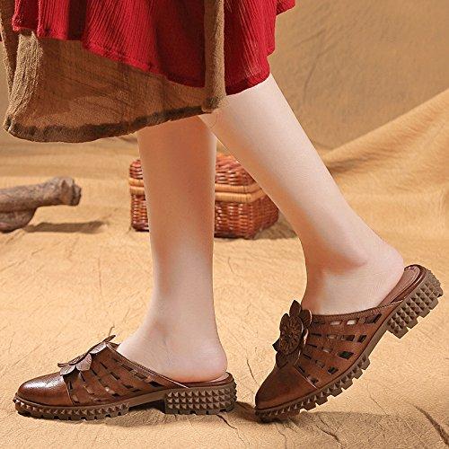 Medias Transpirable Hueco Marrón Baotou Mujeres Zapatillas Zapatillas Suave Mujer Fresco Fondo Desgaste Retro Zapatillas nTgIZS