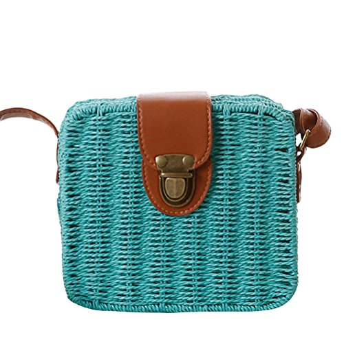 Zhhlaixing Casual Korean Style Messy Woven Bag Small Square Box Simple Beach Bags Candy Color Bolsa hermosa especial for Women Blue