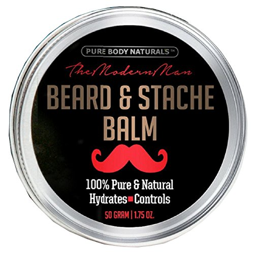 Natural Beard Balm for Men, Non-Greasy Beard Wax and Conditioner for Beard Growth, Amber Musk Scent Mustache Wax, Cruelty-Free, Beard Conditioner, Softening Beard Care by Pure Body Naturals, (Body Care Conditioner)