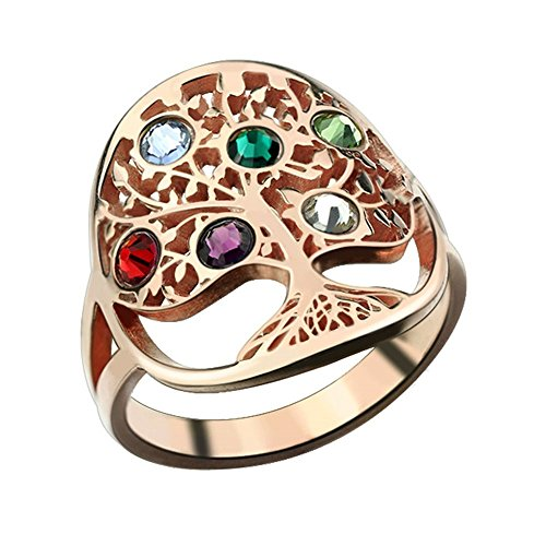 diynecklaces Tree of Life Ring Sliver Birthstone Ring Sterling Silver Family Tree Ring Custom Mother's Ring