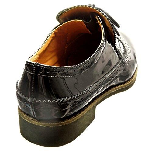 Angkorly - Zapatillas de Moda Zapato acento zapato derby slip-on mujer patentes cordones perforado Talón Tacón ancho 2.5 CM - Negro