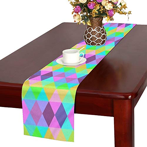 Jnseff Triangles Pattern Rainbow Bright Geometric Table Runner, Kitchen Dining Table Runner 16 X 72 Inch For Dinner Parties, Events, -