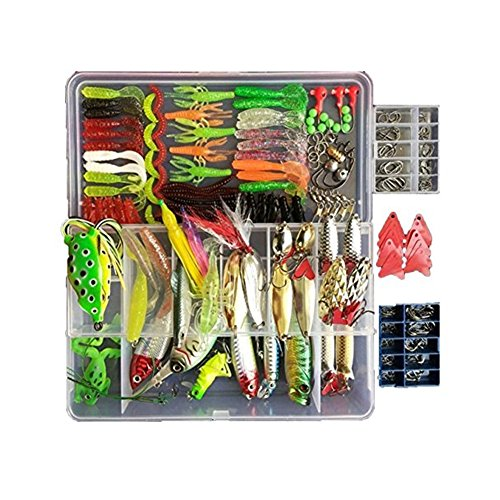 Free Bait - Fishing Lures Kit Topconcept 270Pcs Fishing Lures Baits Tackle Including Spinnerbaits Plastic Worms Jigs Topwater Lures Free Tackle Box