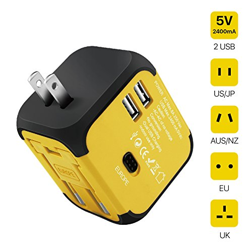 TNP International Universal Power Adapter Converter with 2 USB Charging Ports - All in One Travel Worldwide Plug Built-in Spare Fuse AC Socket Wall Outlet for US, EU, UK, AU, CN 150 Countries (Yellow)