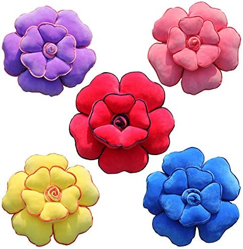 OEENOC Rose Shape Pillow Pillow Creative Cushion Plush Flower Lovely Sleeping Sofa Pillow Five Colours