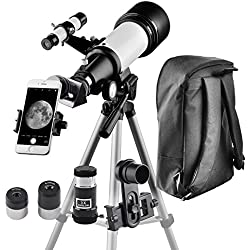 Telescope for Kids and Beginners Travel Scope 70mm Apeture 400mm AZ Mount - with Backpack to Carry Easily - Travel Telescope to View Moon and Planet