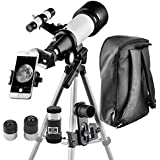 Telescope Kids Beginners Travel Scope 70mm Apeture 400mm AZ Mount Backpack to Carry Easily - Travel Telescope to View Moon Planet