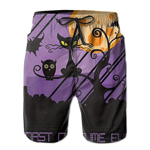 [Men's Pants Worst Costume Ever Halloween Scared Black Cat Breathable Suitable For Both Beach And Home Best Choice For Summer Hailin Tattoo] (Best Worst Costumes Ever)