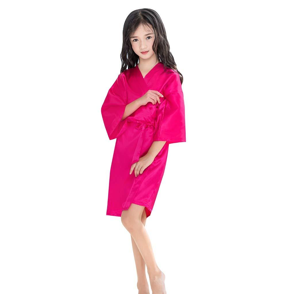 Toddler Baby Bathrobe Girls Kids Satin Kimono Robe Nightgowns for Spa Party Wedding Birthday Silky Sleepwear (Hot Pink, 5-7 Years)