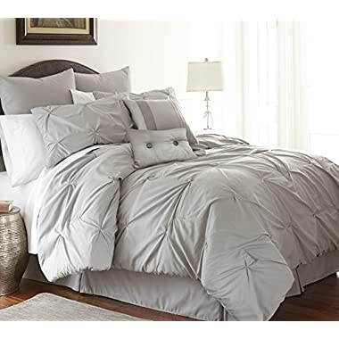 Ella Collection | 8-Piece Pin Tuck Comforter Set, Ultra-Soft Complete Bedding Set by Amrapur Overseas