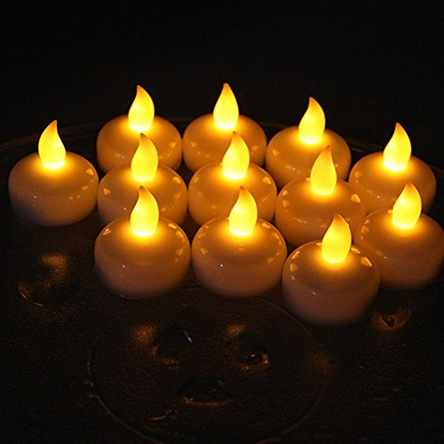 IMAGE Flickering Flameless Floating LED Candles 12PCS Smokeless Waterproof Floating LED Tealights Candles for Wedding Party Spa Home Indoor Outdoor Decor (Yellow)