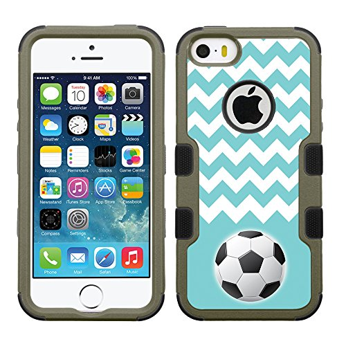 - Fit iPhone SE, One Tough Shield ® 3-Layer Shock Absorbing Hybrid Phone Case (Earth Color with Black Silicone) for Apple iPhone SE. Also fit iphone 5 / 5s - (Chevron/Teal/Soccer)