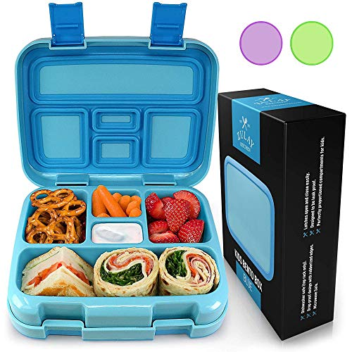 Zulay Kids Bento Box - Durable & Professionally Designed Bento Box for Kids Leakproof - This Toddler Bento Box Has Friendly Latches for Easy Access & 5 Perfectly Proportioned Kid-Sized Compartments