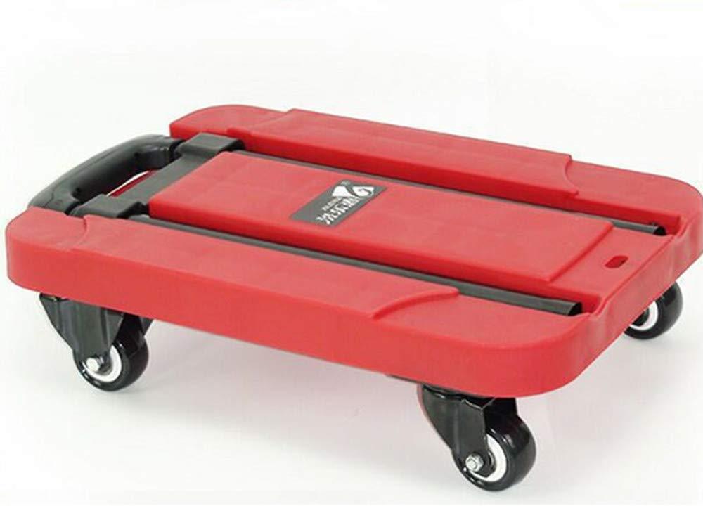 The Shopping Cart Folding Flat Car Four-Wheel Trolley Trolley (red)