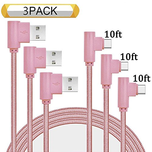 Ankoe USB Type C Cable, 3 Pack 10ft Right Angle 90 Degree Nylon Braided Long Cord USB Type A to C Charger for Samsung Galaxy S9/S9+, Note 8, Google Pixel - Fax 950
