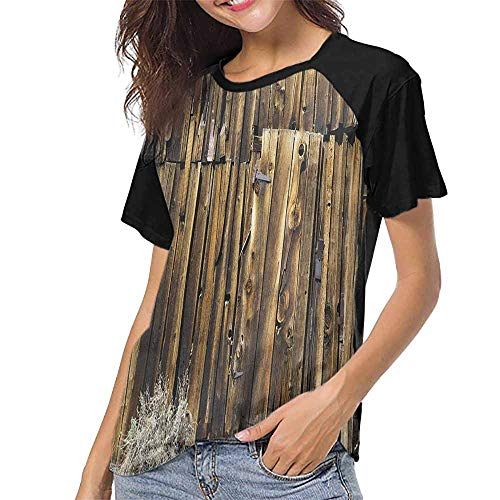 - Rustic,Custom T-Shirt Fashion Style S-XXL(This is for Size Large) Oak Barn Siding Door Cracked Rusted Hinges Dated Timber Mansion Farmland Nobody ,Women Print Tees