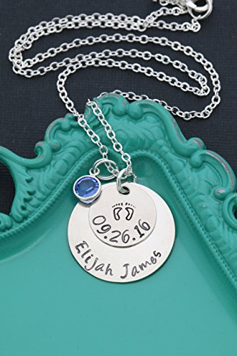 Personalized Baby Necklace – DII ABC - New Mom Gift - Handstamped Handmade Necklace – 1, 5/8 Inch 15, 25.4MM Discs – Customize Name Date – Choose Birthstone Color