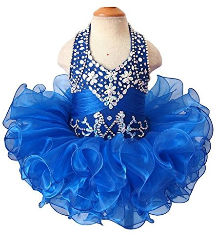YOGHOURT Girls Halter Crystal Ruffled Mini Gown Beads Pageant Cupcake dresses