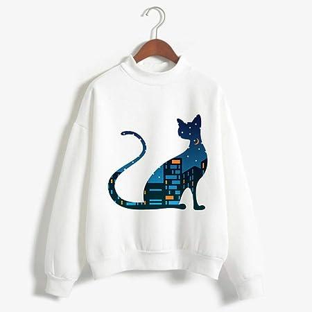 zysymx Camisetas con Estampado de Gato Ropa de Cuello Alto ...