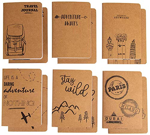 (Kraft Notebook - 12-Pack Lined Notebook Journals, Pocket Journal for Travelers, Diary, Notes - 6 Different Adventure and Travel Designs, Soft Cover, 80 Pages, Brown, 4 x 5.75 Inches)