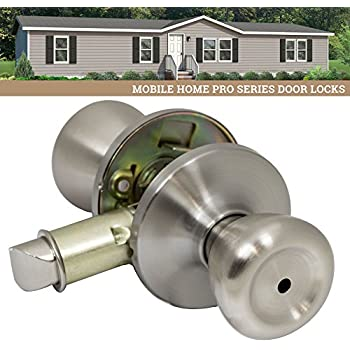 Kwikset 93001 494 Satin Chrome Tylo Knob Mobile Home Privacy Set Exterior Door Hardware