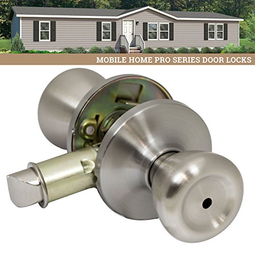 Pro-Grade Classic Mobile Home Privacy Door Knob Bed and Bath Handle, Satin Nickel