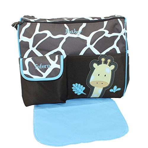 Tofern Multifunktionsmama Handtasche Baby Windel Windeln wechseln Sack (blau Griraffe Muster)
