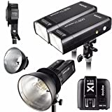 Godox 2pcs AD200 200Ws 2.4G TTL Flash Strobe Kit + X1T-S + AD-B2 + Bowens Reflector w/ EACHSHOT Cleaning Cloth for Olympus