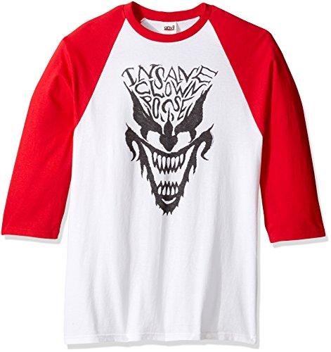 FEA Men's Insane Clown Posse Icp Face Raglan Shirt, White/Red, XX-Large