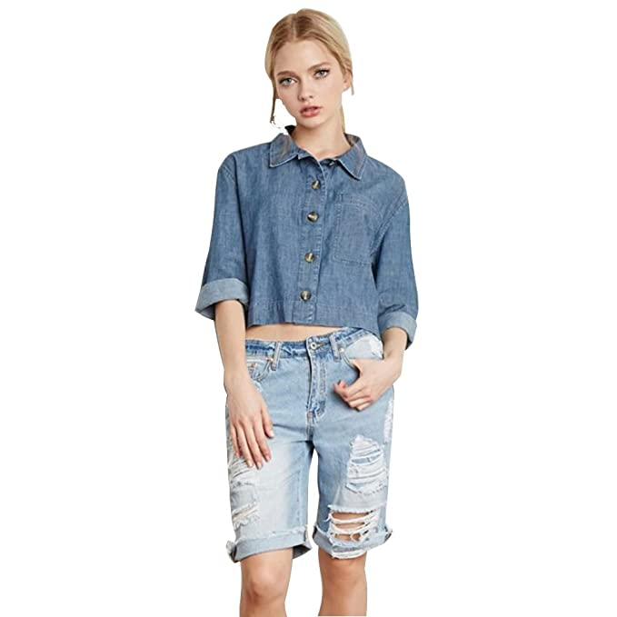 NiSeng Camisa de mezclilla Denim Blusa Vaquera Casual Manga Larga para Mujer Azul S