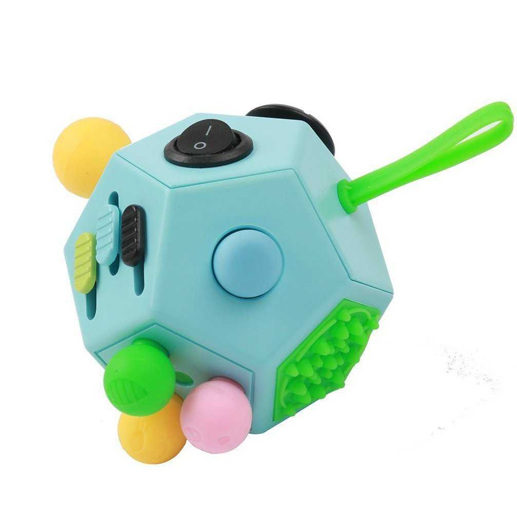 WCZC Fidget Dodecagon Toys,12 Sides Fidget Cube, Relieves Stress, Anti-anxiety for Kids and Adults with ADHD, ADD OCD, Autism (Blue / B3)