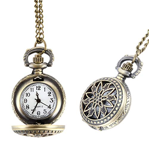 Fashion Vintage Women Pocket Watch Alloy Retro Hollow Out Flowers Pendant Clock Sweater Necklace Chain Watches Lady Gift LL@17 Style 2 from Wactsa