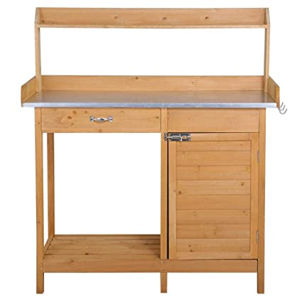 Incroyable Amazon.com: Yaheetech Potting Bench Outdoor Garden Work Bench Station  Planting Solid Wood Construction With Cabinet Drawer Open Shelf: Garden U0026  Outdoor